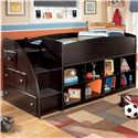 Signature Design by Ashley Embrace Twin Loft Bed with Bookcase Storage - Item Number: B239-68T+13L+2x17