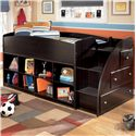 Signature Design by Ashley Embrace Twin Loft Bed with Bookcase Storage - Item Number: B239-68T+13R+2x17