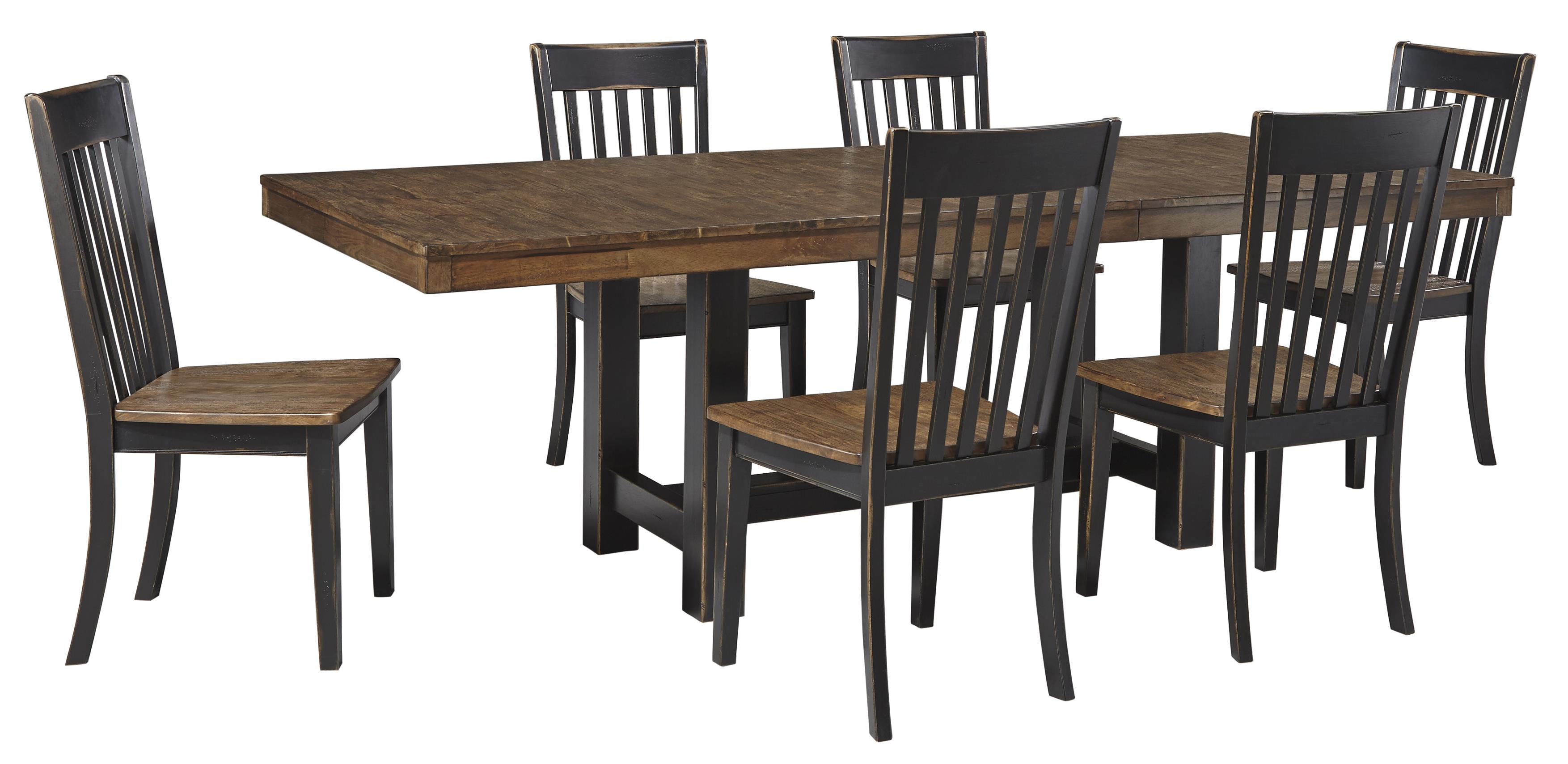 Signature Design by Ashley Emerfield 7 Piece Two-Tone Dining Table Set - Item Number: D563-35+6x-01