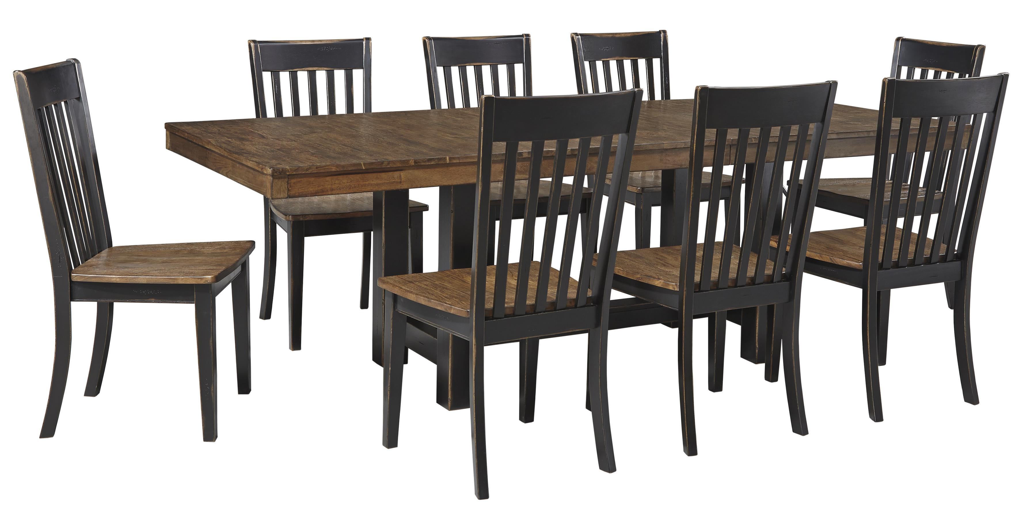 Signature Design by Ashley Emerfield 9 Piece Two-Tone Rectangular Dining Set - Item Number: D563-35+8x-01