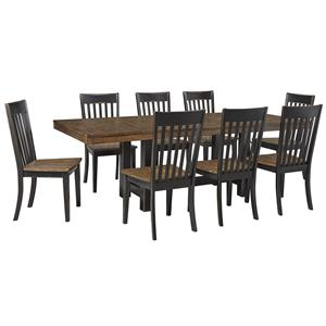 Signature Design by Ashley Emerfield 9 Piece Two-Tone Rectangular Dining Set