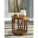 Signature Design by Ashley Emilander Round End Table with Acacia Veneer & Industrial Metal Accents