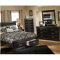 Signature Design by Ashley Esmarelda Queen Storage Bed with 2 Footboard Drawers & Faux Marble Trim - Detail of Footboard Storage