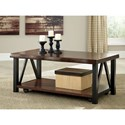 Signature Design by Ashley Esmarina Rectangular Cocktail Table with Faux Live Edge and Casters