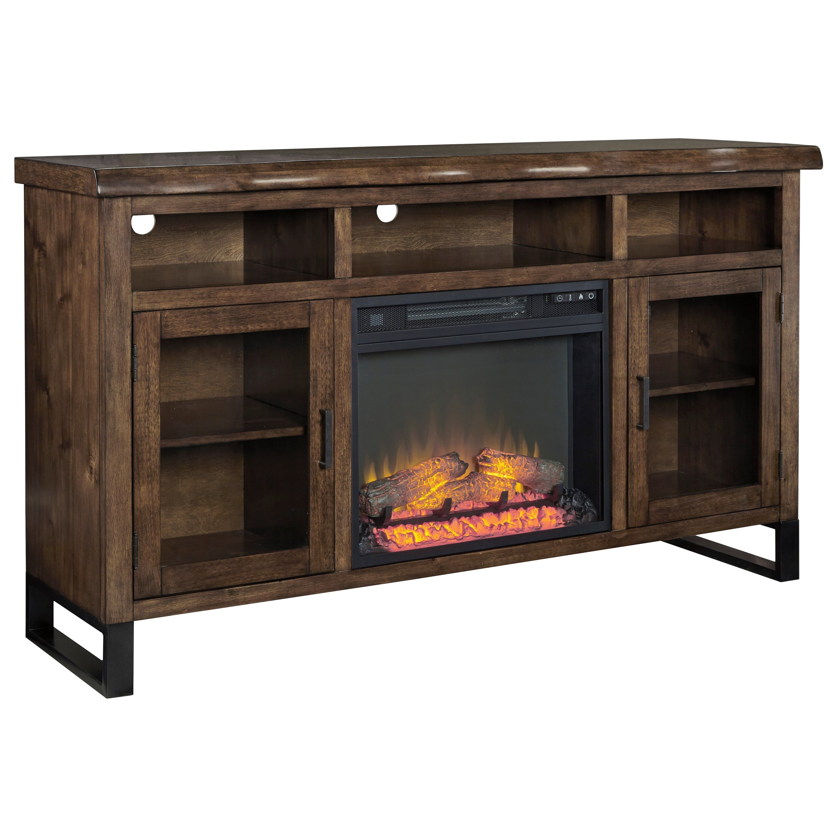 Signature Design by Ashley Esmarina Large TV Stand w/ Fireplace Insert - Item Number: W815-48+W100-01