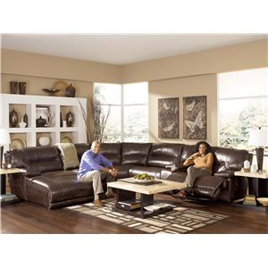 Signature Design by Ashley Exhilaration - Chocolate Reclining Sectional Sofa with LAF Chaise