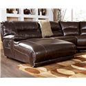 Signature Design by Ashley Exhilaration - Chocolate Reclining Sectional Sofa with Left Side Chaise for Five or More Guests - Sectional Sofa Chaise Detail. Sectional Sofa May Not Represent Exact Features Indicated.