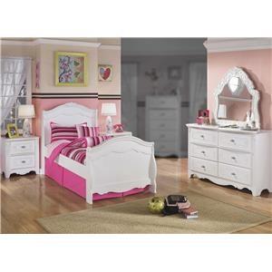 4PC Twin Sleigh-Bed Bedroom Set