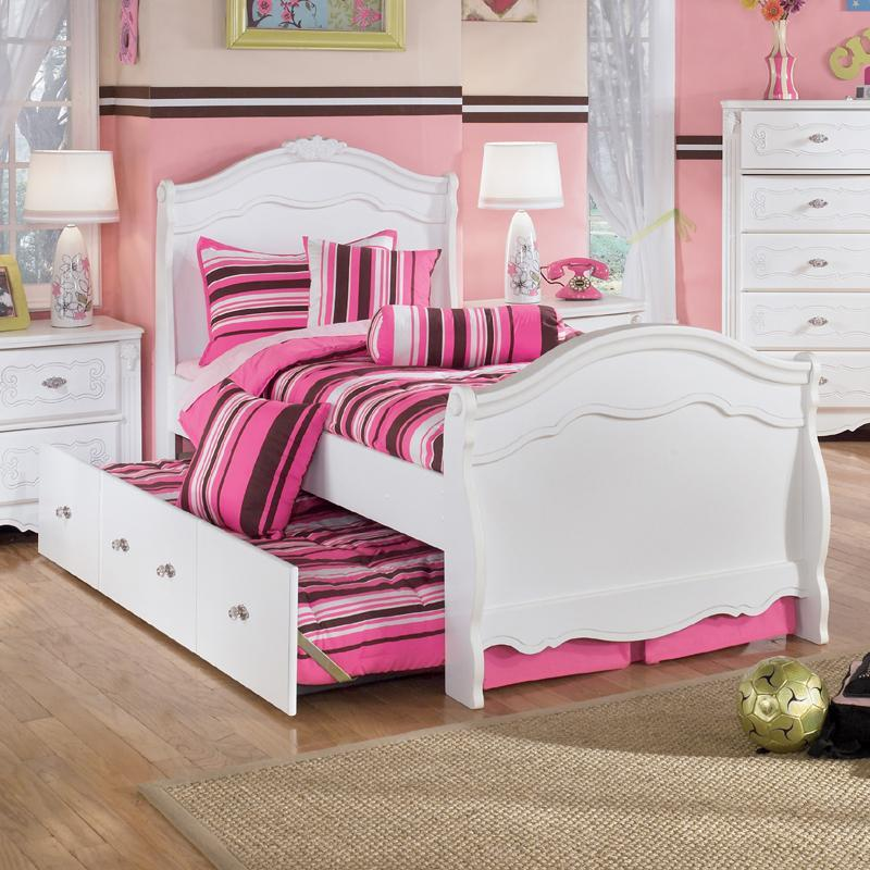Signature Design by Ashley Exquisite Twin Sleigh Bed with Under Bed Trundle Panel - Item Number: B188-63N+62N+82N+50+B100-11+82