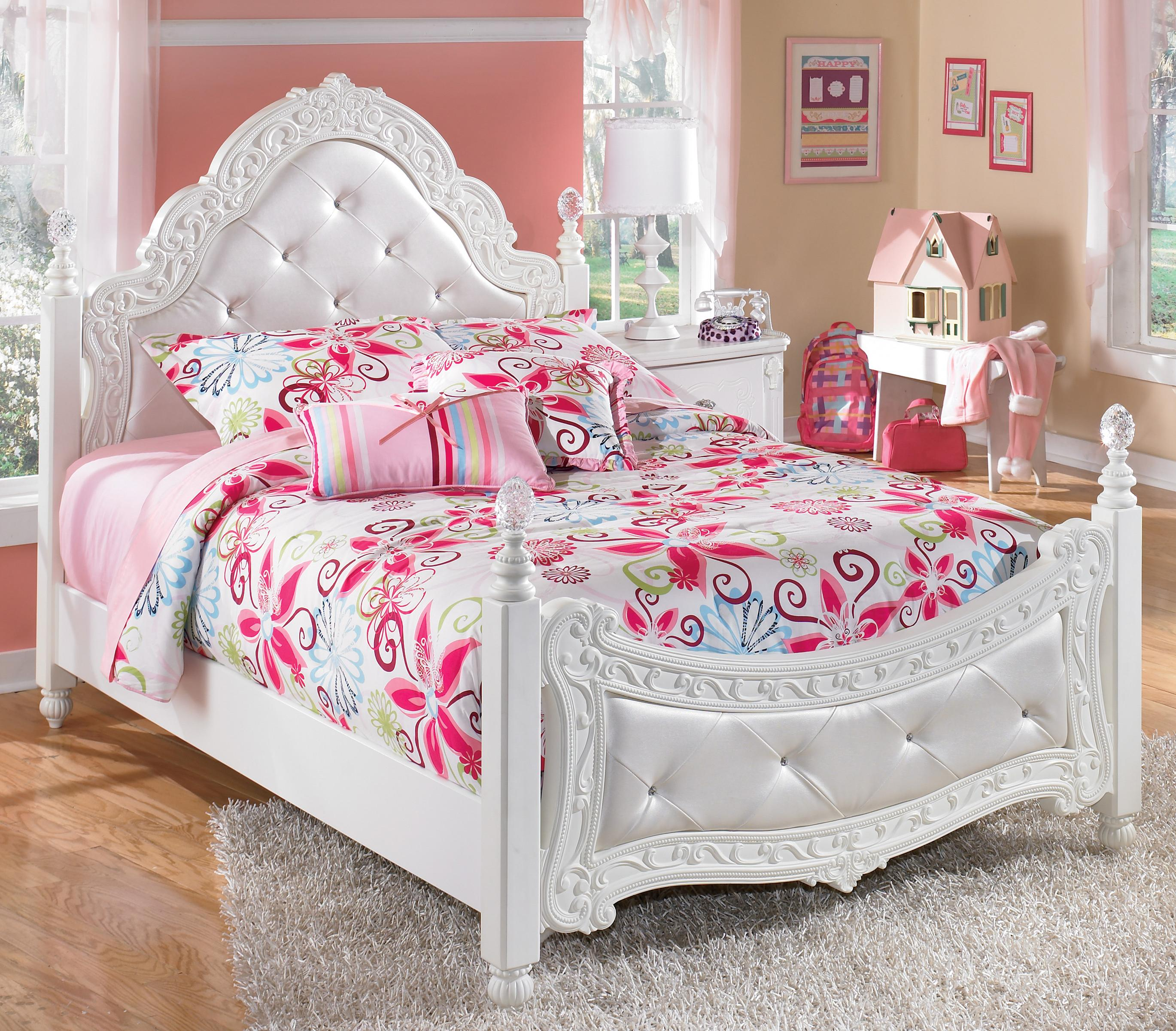 Signature Design By Ashley Exquisite Full Ornate Poster Bed With Tufted Headboard Footboard Royal Furniture Upholstered Beds