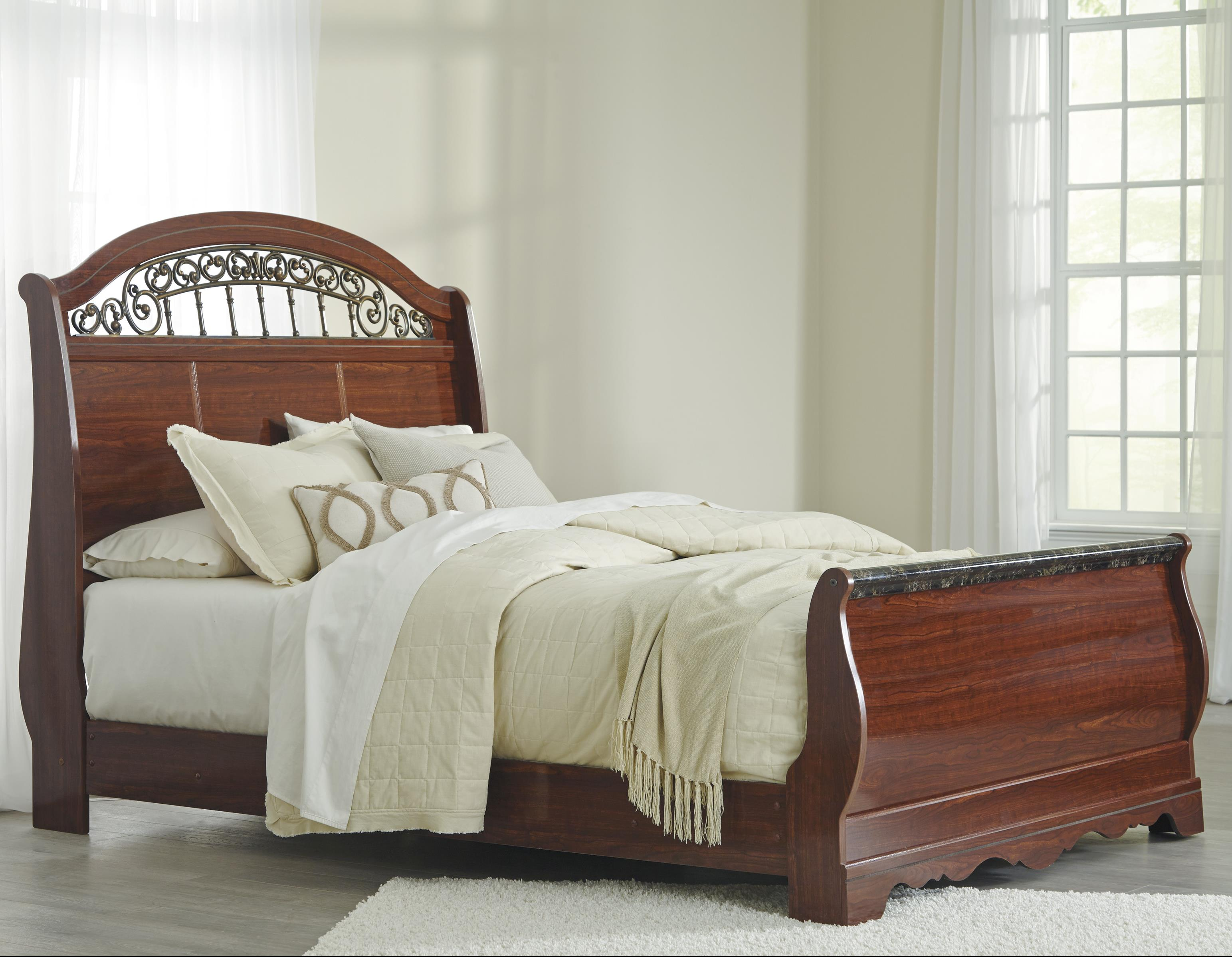 Signature Design by Ashley Brookfield Queen Sleigh Bed - Item Number: B105-77+74+96