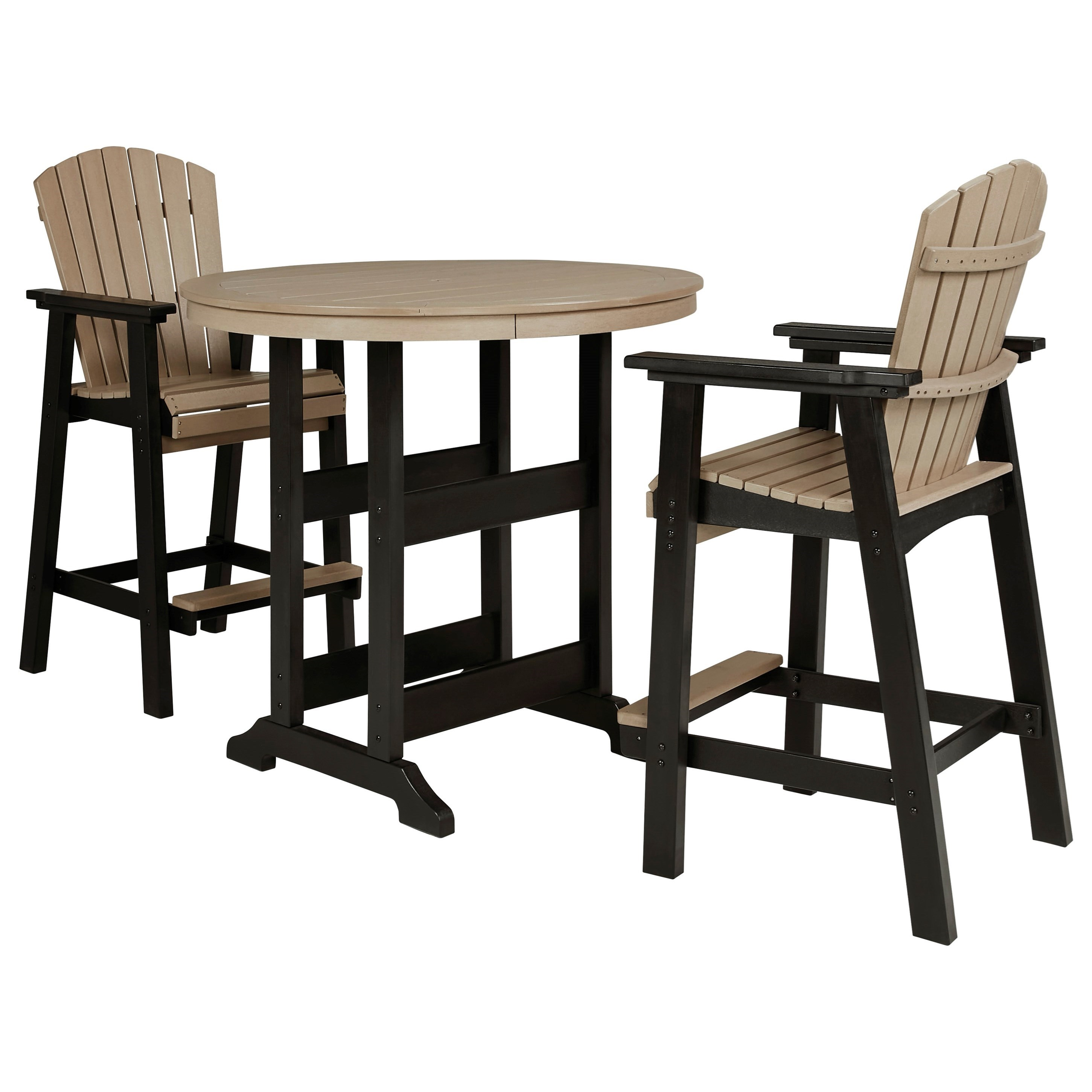 Fairen Trail 3-Piece Round Bar Table Set by Signature at Walker's Furniture