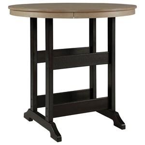 Two-Tone Round Bar Table w/ Umbrella Option