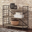 Signature Design by Ashley Flintley Industrial Solid Wood/Metal Low Bookcase with Curved Ends