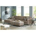 Signature Design by Ashley Flintshire Mid Century Modern 3 Seat Sectional Sofa with Oversized LAF Chaise