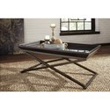 Signature Design by Ashley Florentown Wood/Metal Rectangular Cocktail Table with Glass Top
