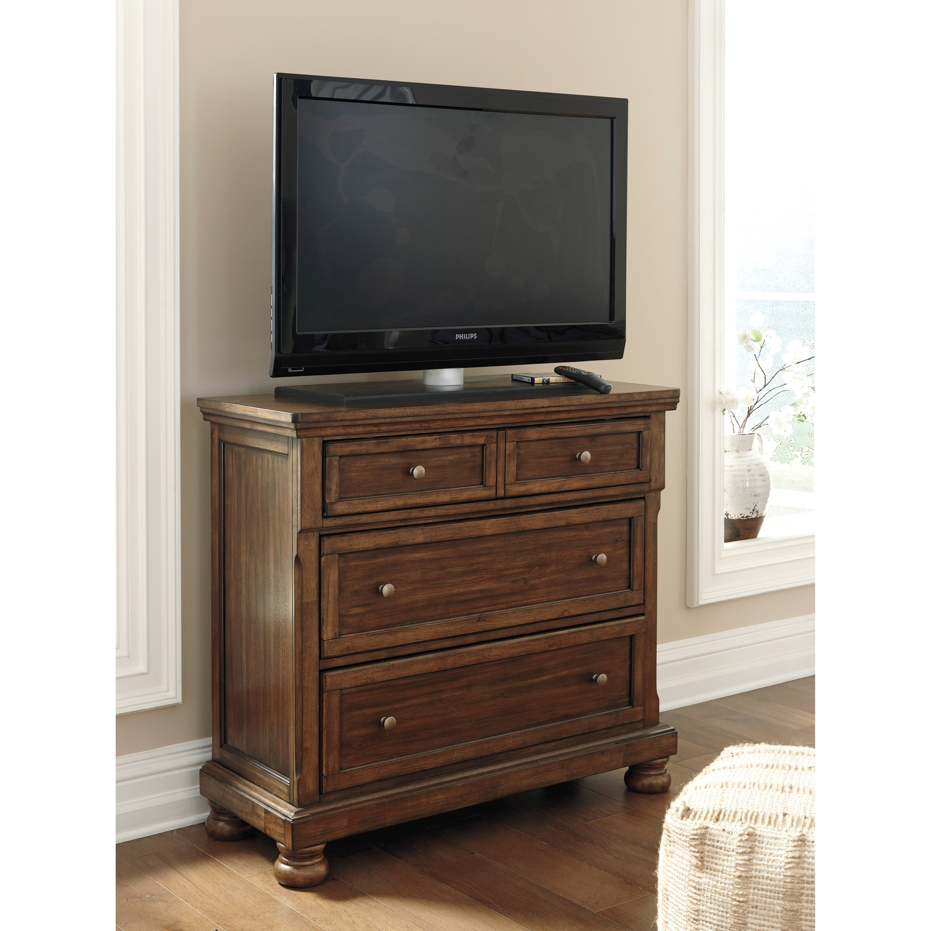 Signature Design By Ashley Flynnter Media Chest With Drop Front Drawer Miskelly Furniture