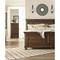 Signature Design by Ashley Flynnter King Panel Bed in Burnished Brown Finish