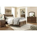 Signature Design by Ashley Flynnter King Sleigh Storage Bed in Burnished Brown Finish