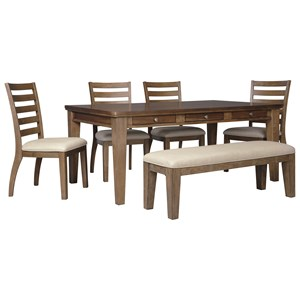 Signature Design by Ashley Flynnter 6 Piece Storage Table Set with Bench