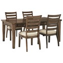 Signature Design by Ashley Flynnter 5 Piece Table and Chair Set - Item Number: D719-25+4x01