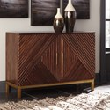 Signature Design by Ashley Forestmin Geometric Overlay Accent Cabinet with Brass Accents