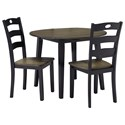 Signature Design by Ashley Wildwood 3-Piece Round Drop Leaf Table Set - Item Number: D338-15+2x01