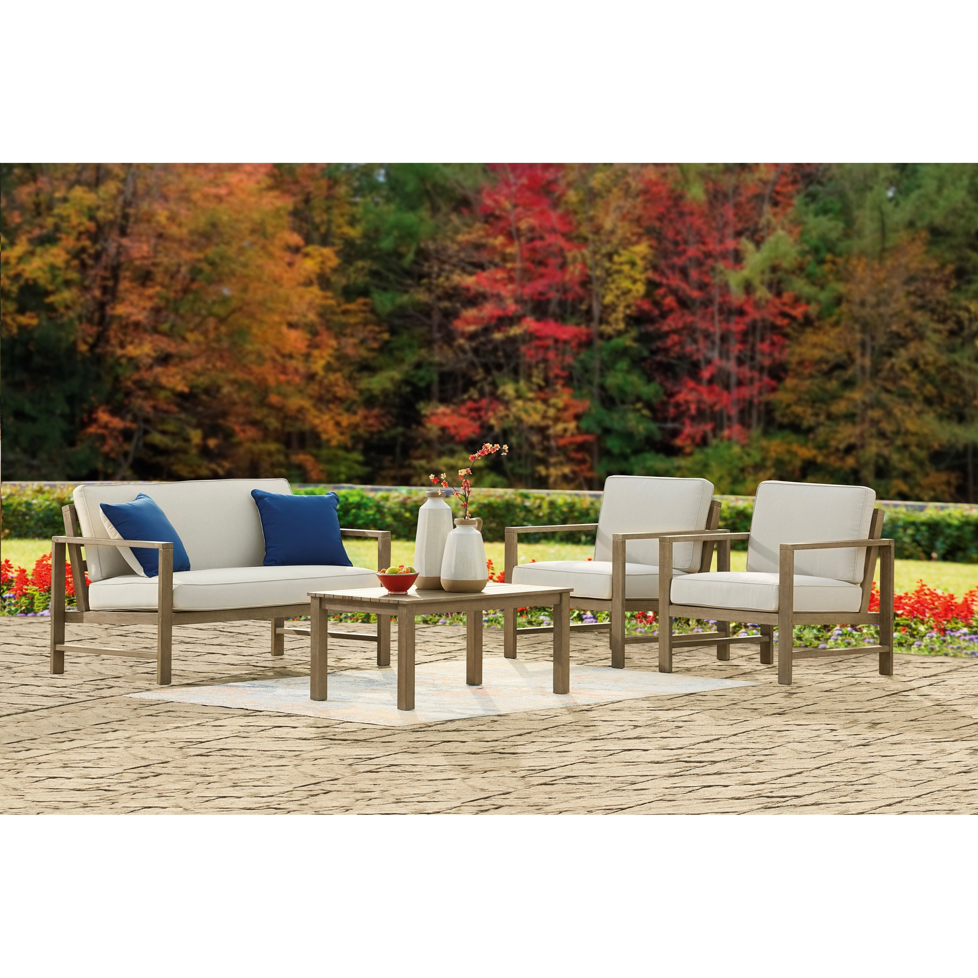 Fynnegan Loveseat w/ Table & 2 Lounge Chairs by Ashley (Signature Design) at Johnny Janosik