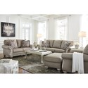 Signature Design by Ashley Gailian Sofa with Silver Finish Ornate Details