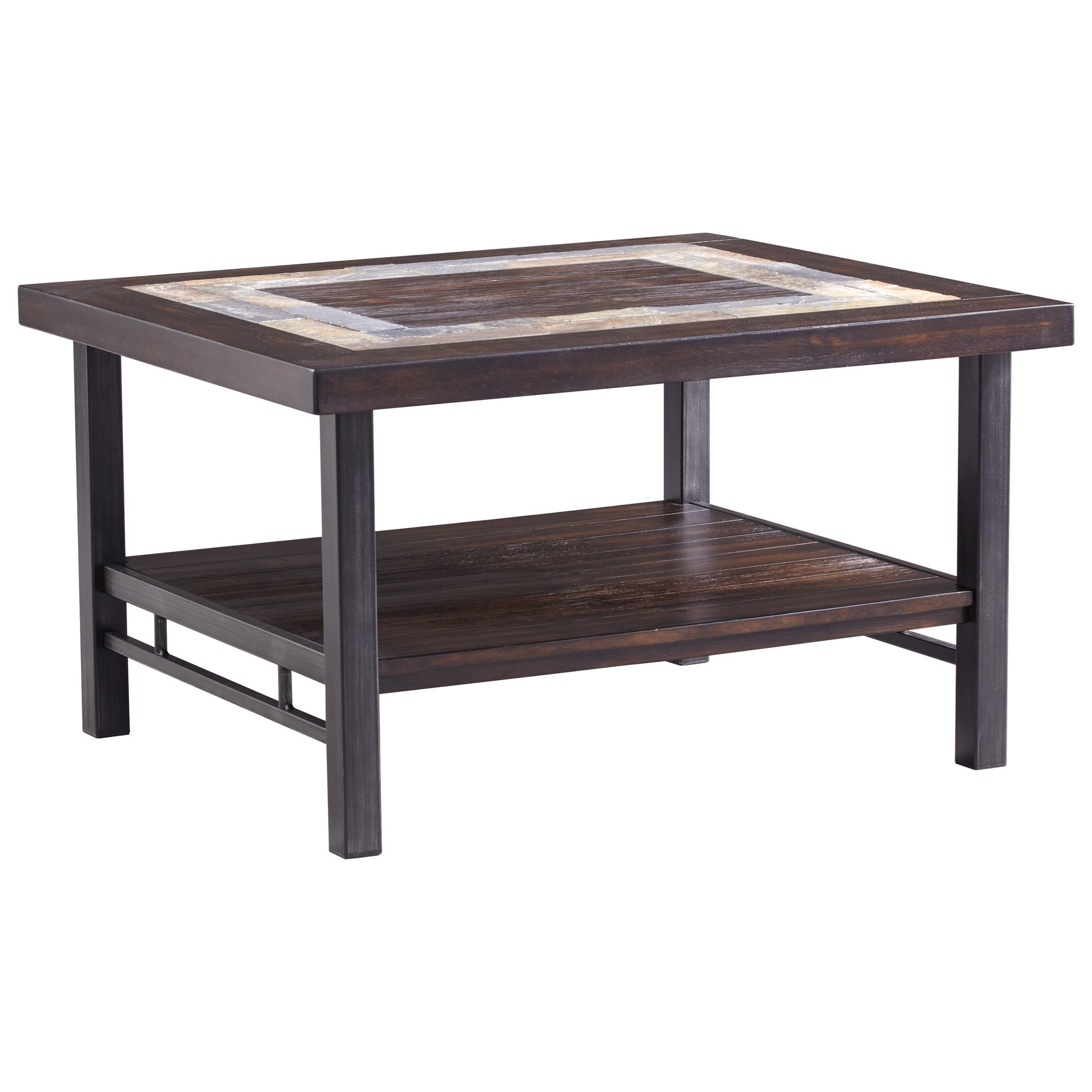 Ashley Signature Design Gallivan T053 1 Rectangular Cocktail Table With Slate Tile Inlay Dunk