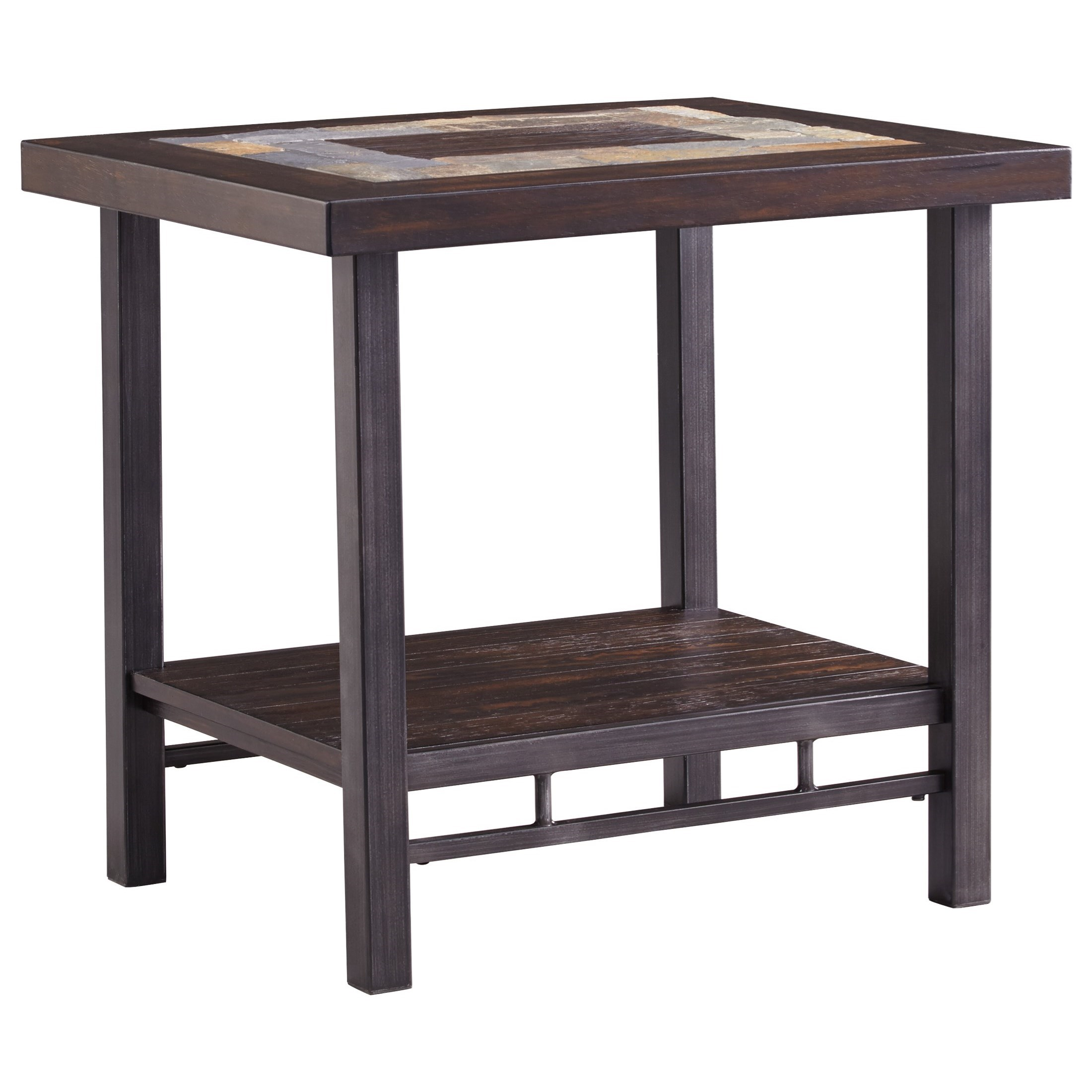 Signature Design By Ashley Gallivan T053 3 Rectangular End Table With Slate Tile Inlay Del Sol