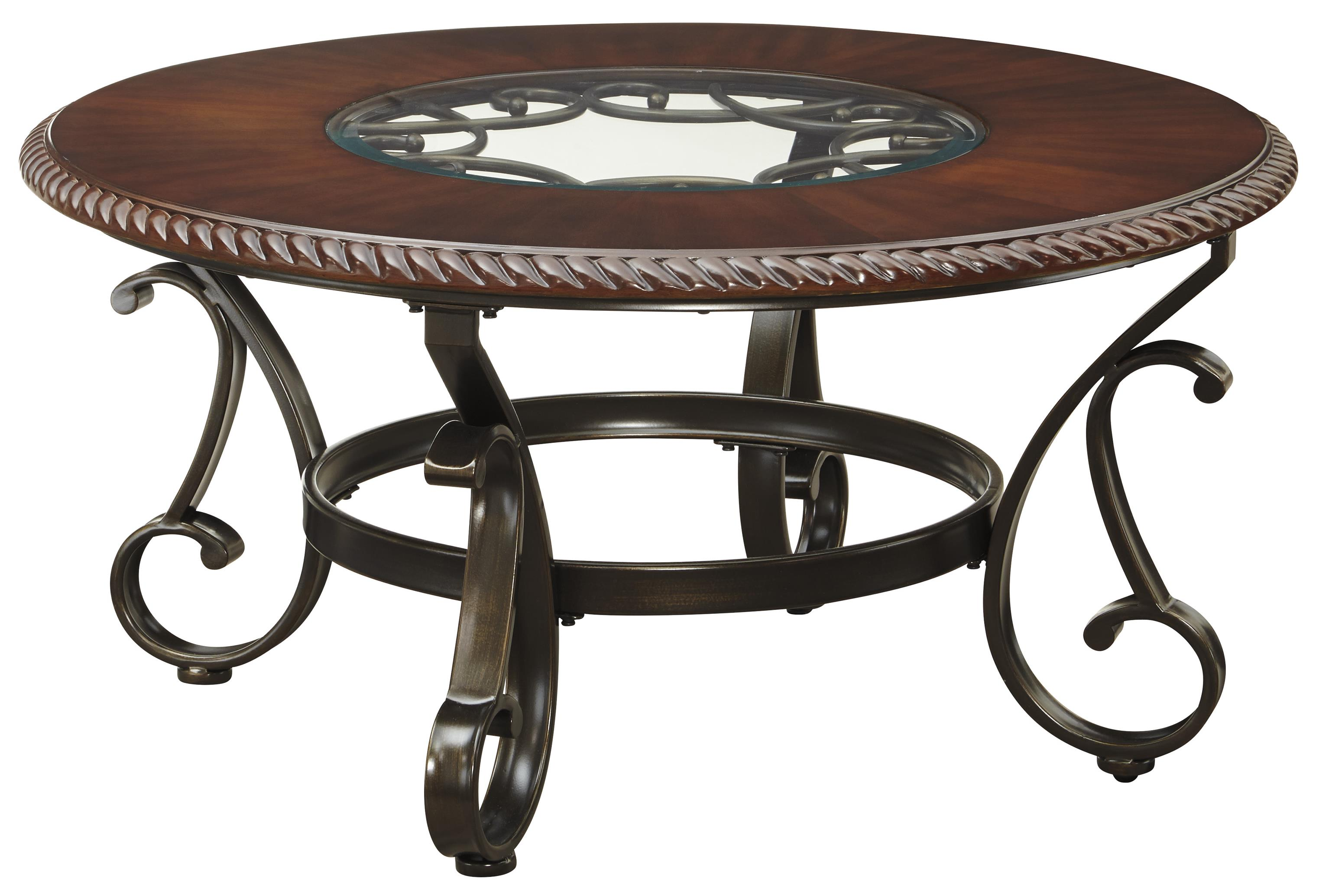Ashley signature design gambrey t626 8 round cocktail table with glass insert top and metal base Metal glass top coffee table