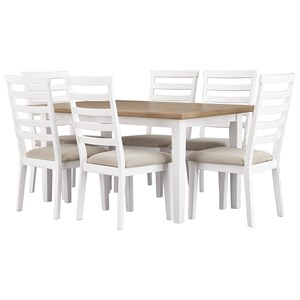 Signature Design by Ashley Gardomi 7-Piece Rectangular Dining Room Table Set