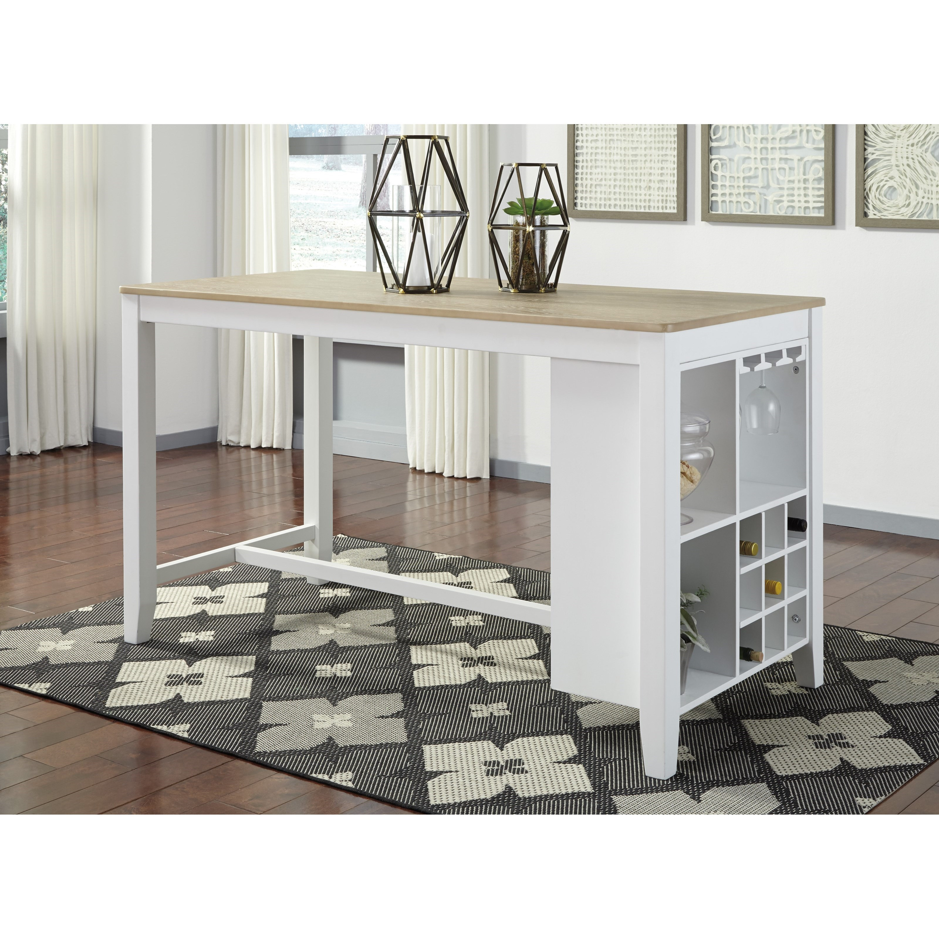 signature design by gardomi two tone rectangular dining room counter table miskelly