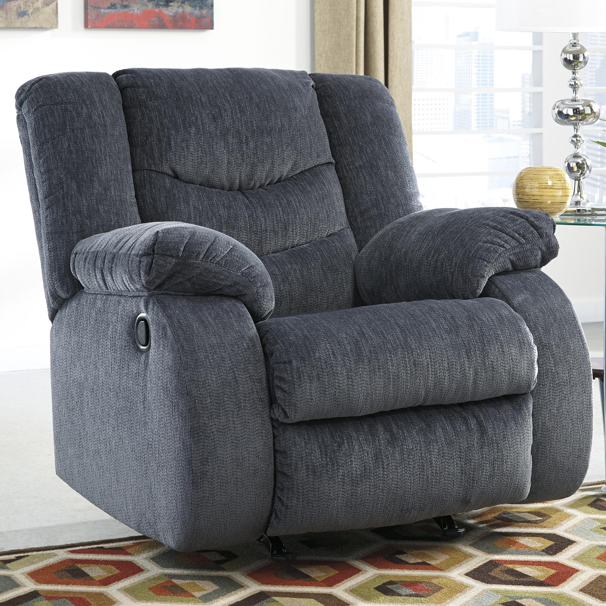 Signature Design by Ashley Garek - Blue Rocker Recliner - Item Number: 9200125