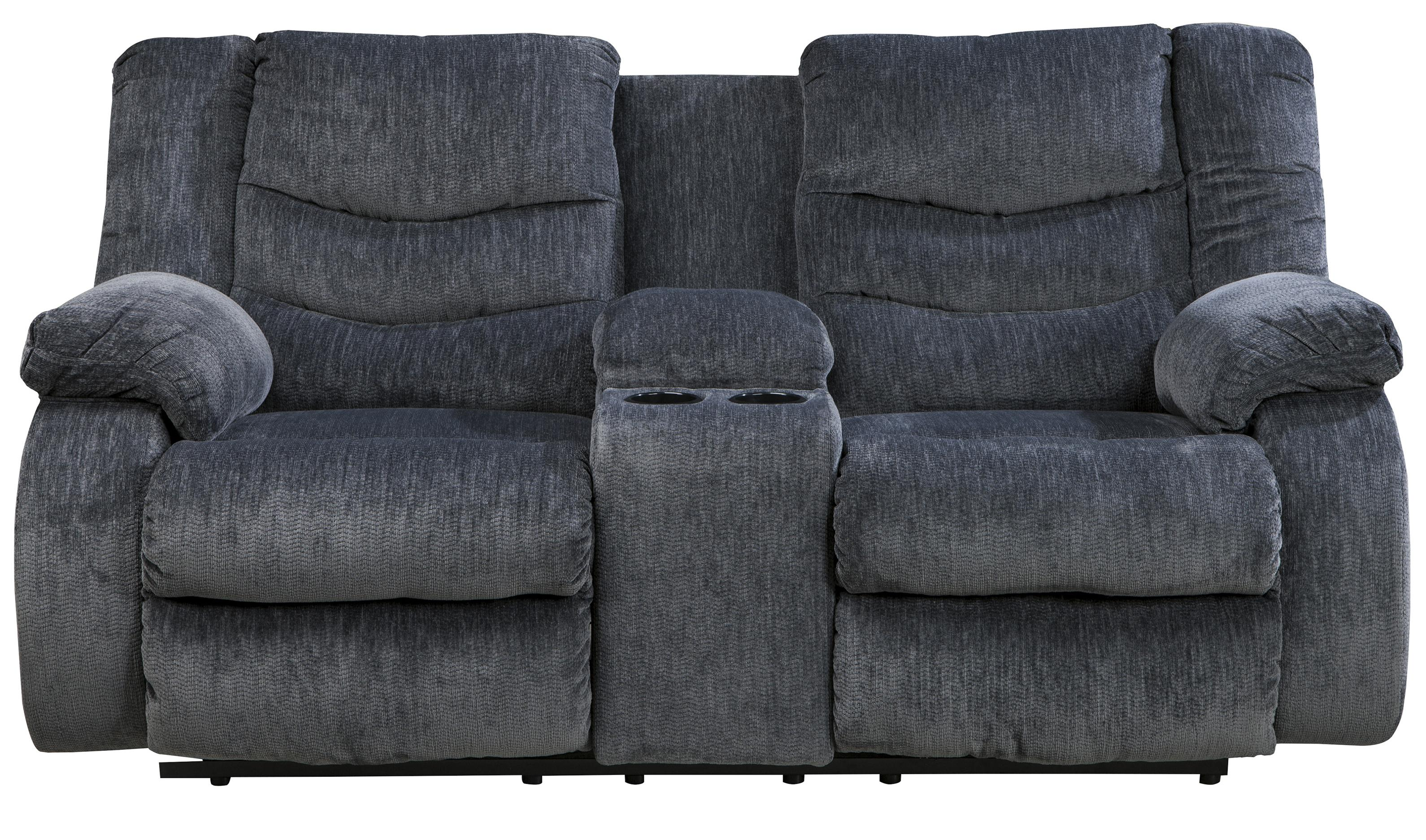 Signature Design by Ashley Garek - Blue Double Reclining Loveseat w/ Console - Item Number: 9200194