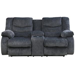 Signature Design by Ashley Garek - Blue Double Reclining Loveseat w/ Console