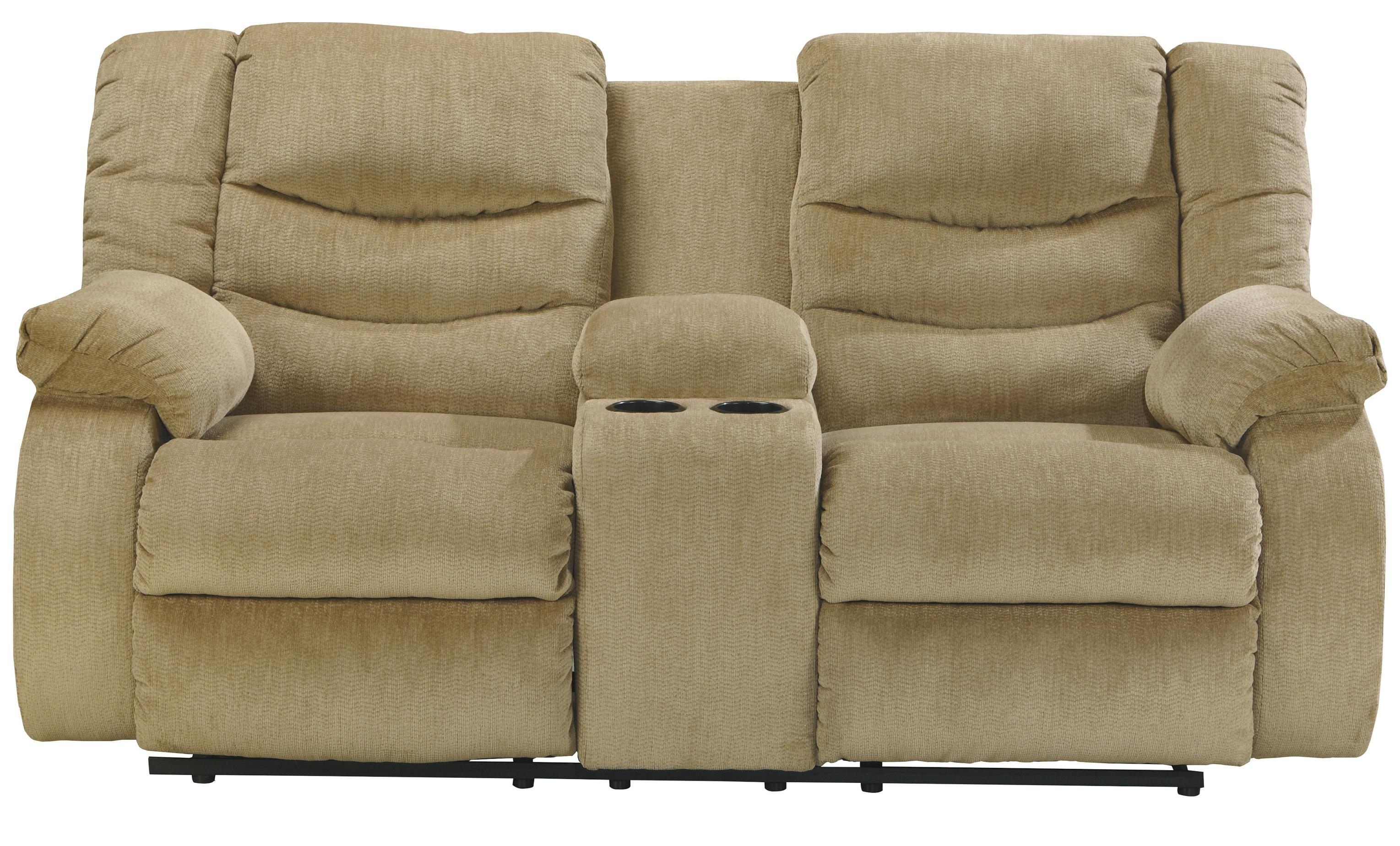 Signature Design by Ashley Garek - Sand Double Reclining Loveseat w/ Console - Item Number: 9200294