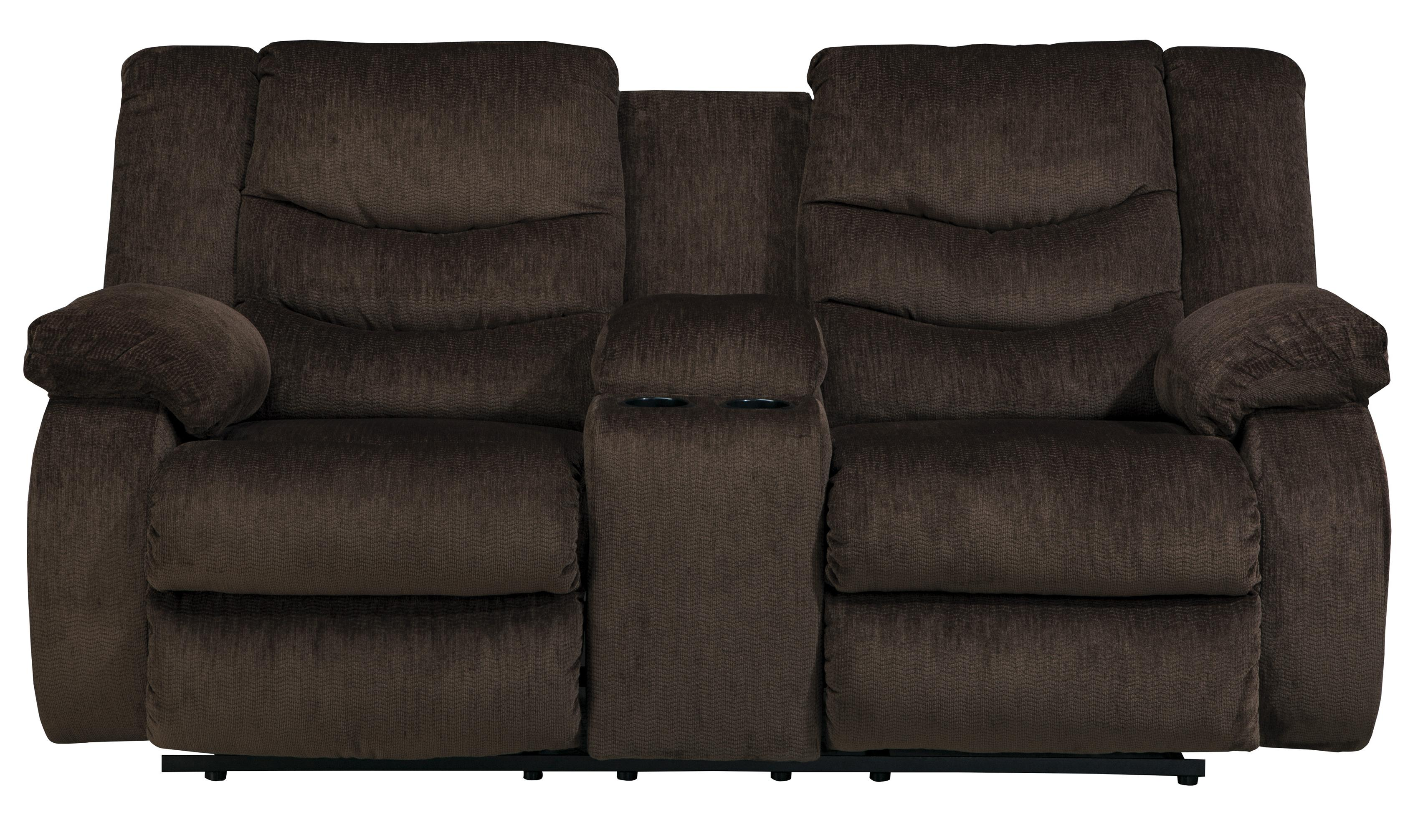 Signature Design by Ashley Garek - Cocoa Double Reclining Loveseat w/ Console - Item Number: 9200394