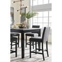 Signature Design by Ashley Garvine 5-Piece Square Counter Height Dining Room Table Set with Bar Stools