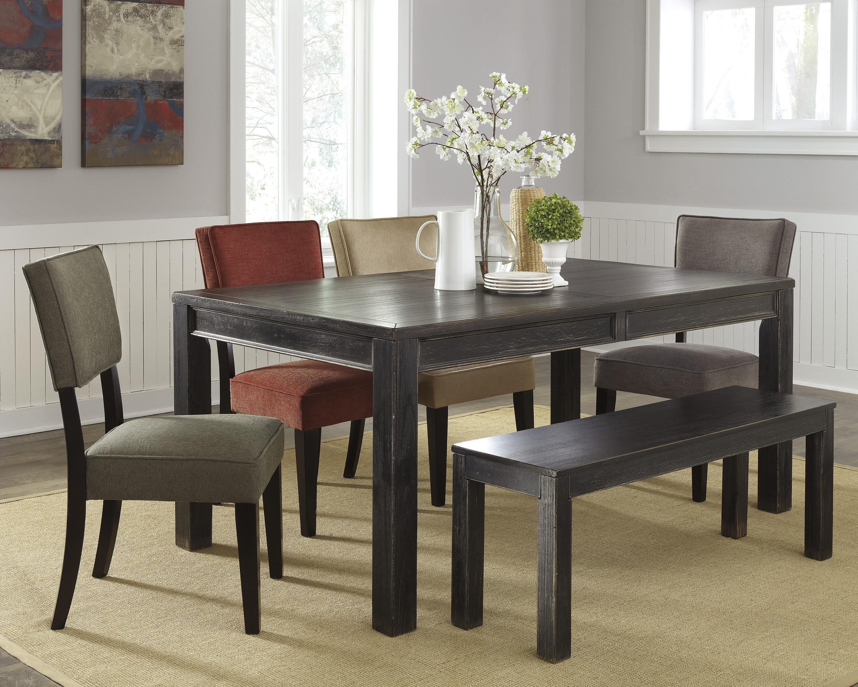 Signature Design by Ashley Gavelston 6-Piece Table Set with Bench - Item Number: D532-25+01+02+03+04+09