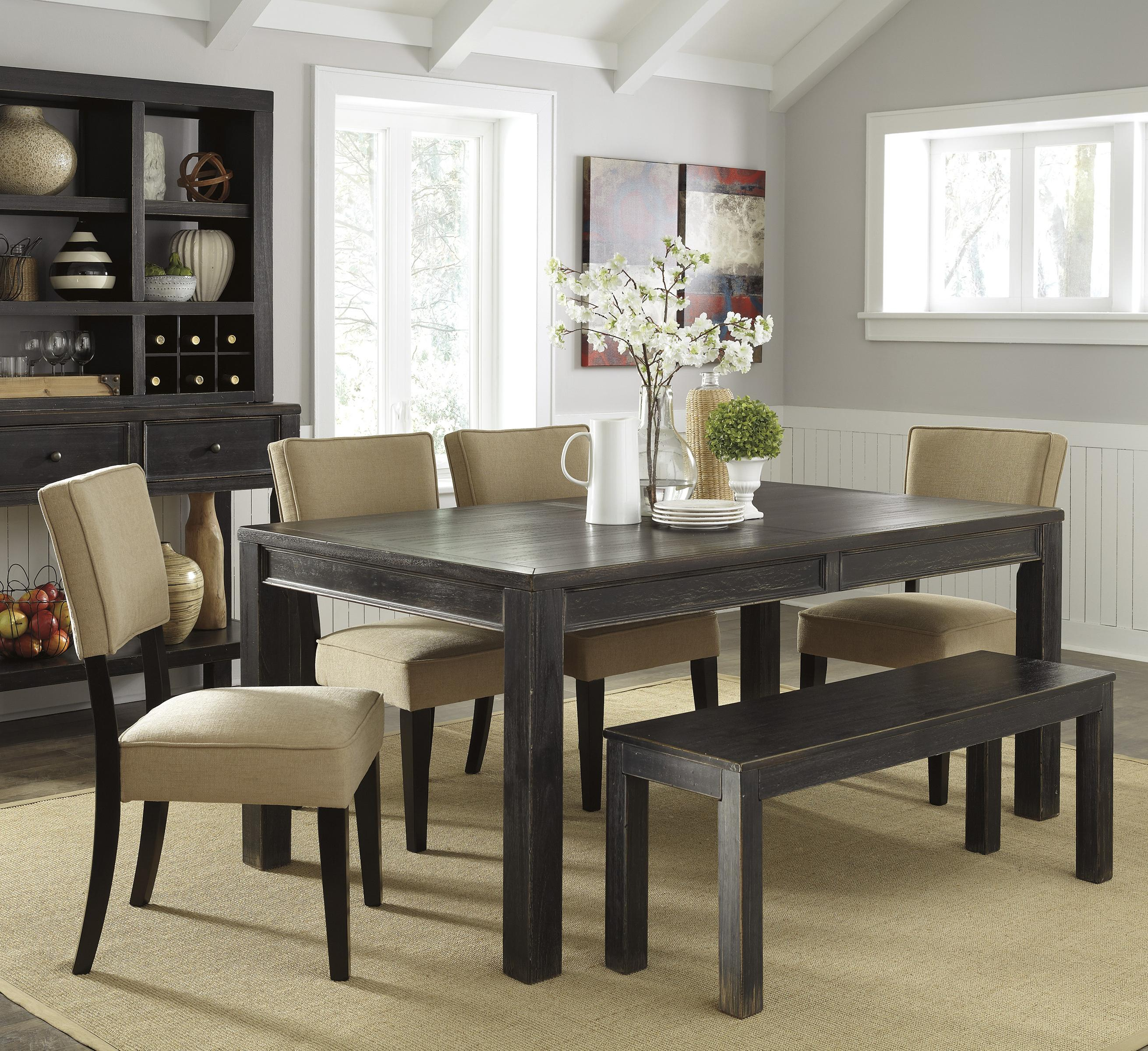 Signature Design by Ashley Gavelston 6-Piece Table Set with Bench - Item Number: D532-25+4x01+09