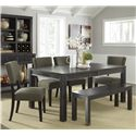 Signature Design by Ashley Gavelston 6-Piece Table Set with Bench - Item Number: D532-25+4x02+09