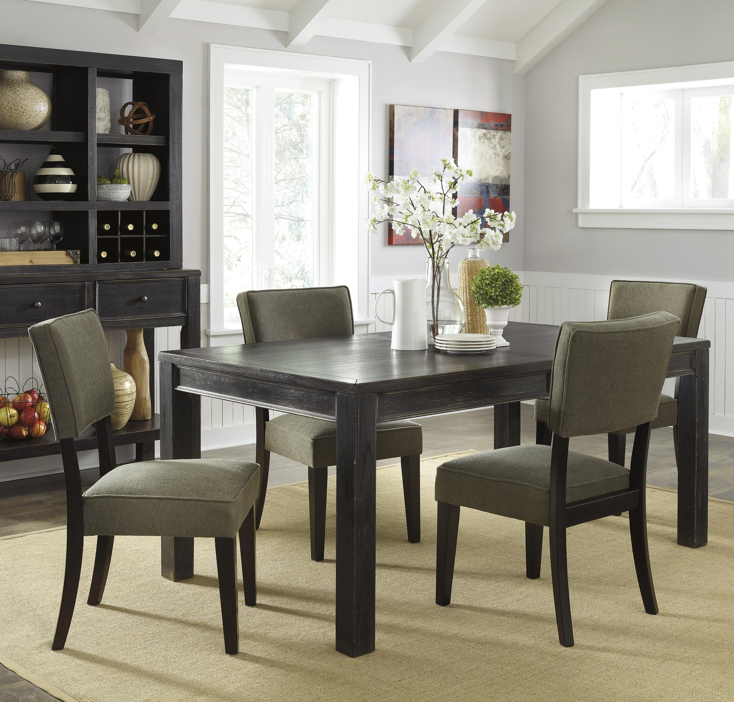 Signature Design by Ashley Gavelston 5-Piece Rectangular Table Dining Set - Item Number: D532-25+4x02