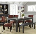 Signature Design by Ashley Gavelston 6-Piece Table Set with Bench - Item Number: D532-25+4x04+09
