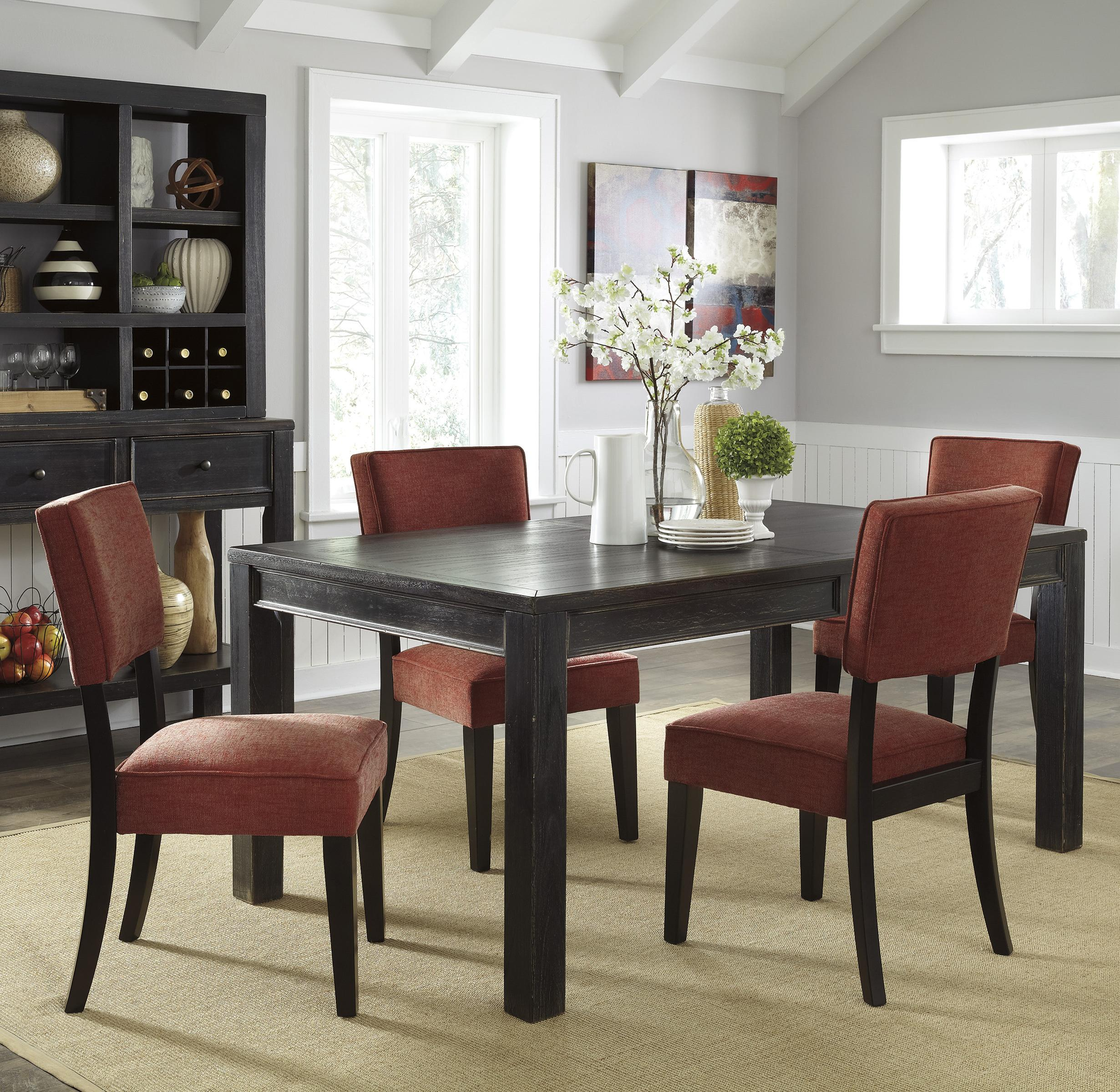 Signature Design by Ashley Gavelston 5-Piece Rectangular Table Dining Set - Item Number: D532-25+4x04