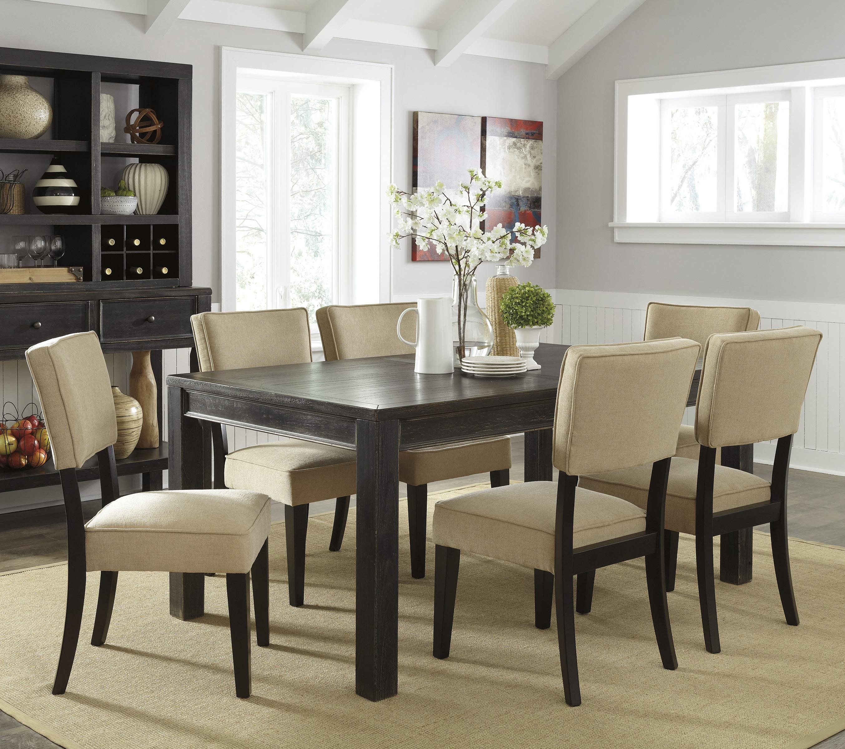 Signature Design by Ashley Gavelston 7-Piece Rectangular Table Dining Set - Item Number: D532-25+6x01