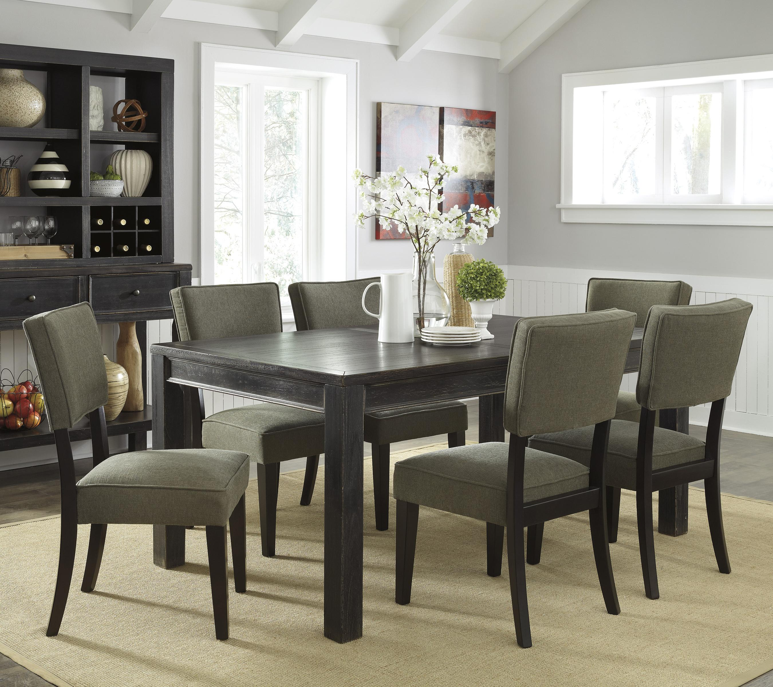 Signature Design by Ashley Gavelston 7-Piece Rectangular Table Dining Set - Item Number: D532-25+6x02