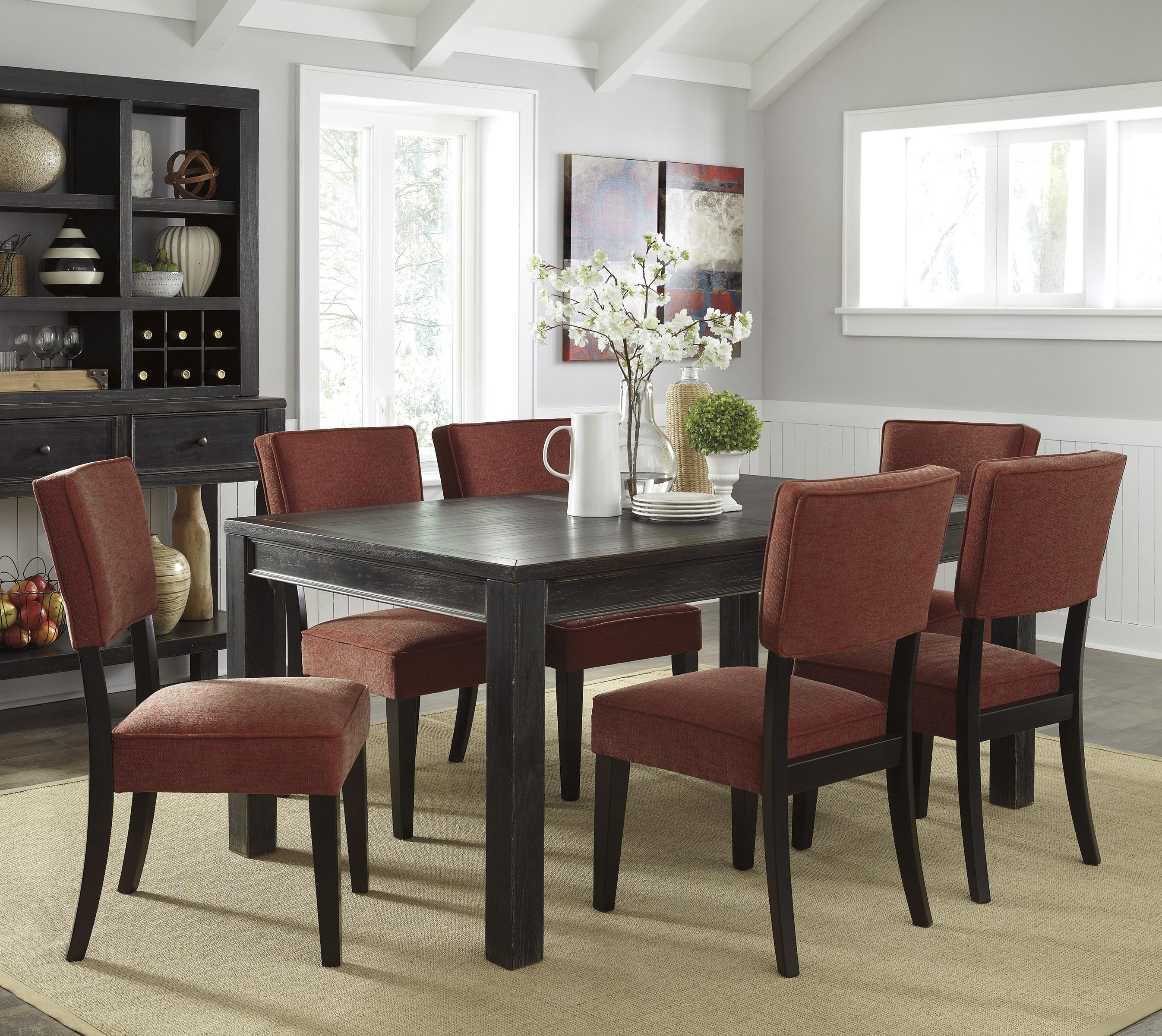 Signature Design by Ashley Gavelston 7-Piece Rectangular Table Dining Set - Item Number: D532-25+6x04