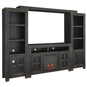 Ashley Signature Design Gavelston TV Stand with Fireplace, Piers & Bridge